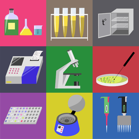Microbiology laboratory icons set