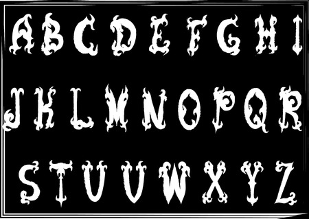 old letter: Hand-drawn vintage gothic styled abc letters. Whole alphabet Illustration