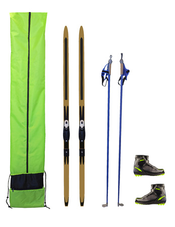 crosscountry: Cross-country skis, poles, boots and case isolated on white background Stock Photo