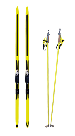 crosscountry: Cross-country skis and poles isolated on white background