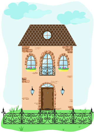 two storey: Facade of vintage house with decorative fence. Retro vector illustration