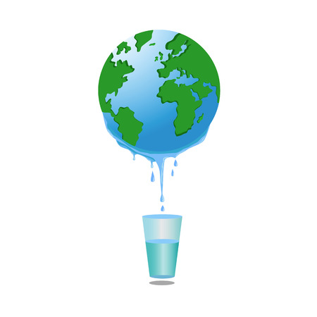 hydrological: Fresh water flow down from Earth planet in glass, vector illustration Illustration