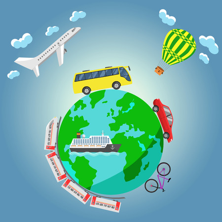 aerostat: Travel around the world by airplane, bus, aerostat, car, bicycle, train and ship.