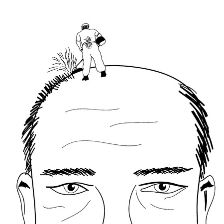 shave: Lawn-mower shave bald man comic illustration Stock Photo