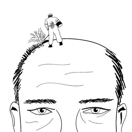 hair loss: Lawn-mower shave bald man comic illustration Stock Photo