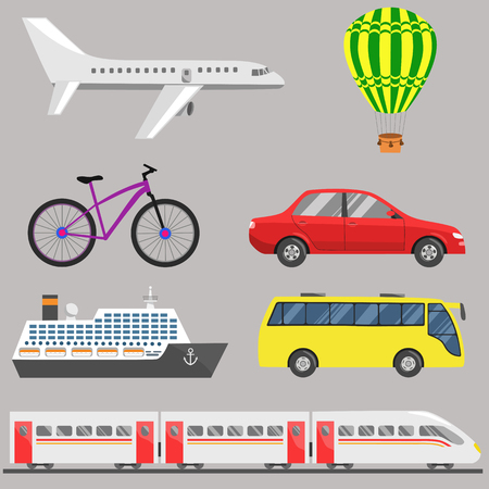 aerostat: Travel transport set: plane, aerostat, bicycle, car, ship, bus, train. Flat illustration