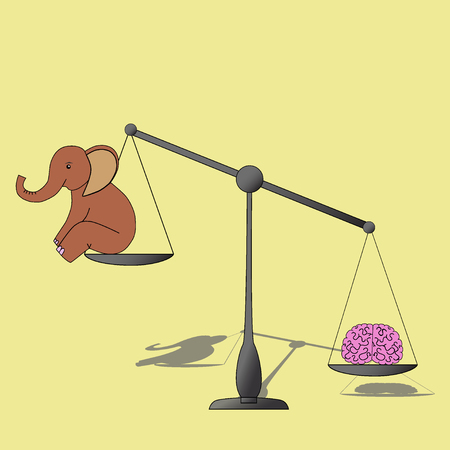 overbalance: Brain overweight elephant on measuring scale. Illustration Stock Photo