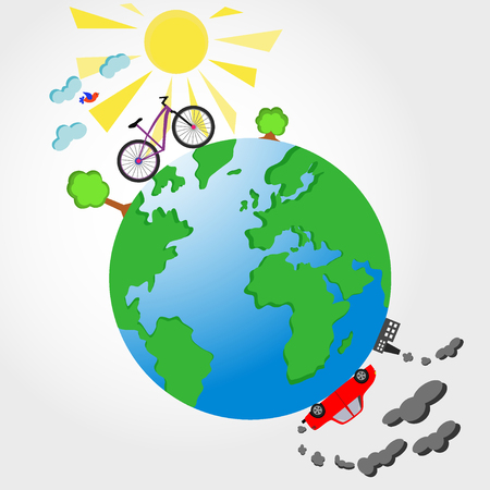 planet car: Bicycle and car on planet Earth illustration. Ecological concept Stock Photo