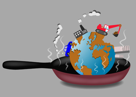 roasting: Planet Earth roasting on frying pan illustration. Ecological concept