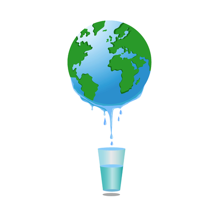 water flow: Fresh water flow down from Earth planet in glass, illustration Stock Photo