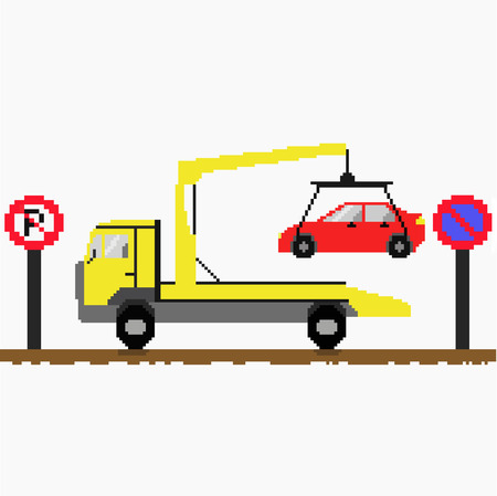 wrecker: Evacuator tow away car on road with traffic signs. Pixel art