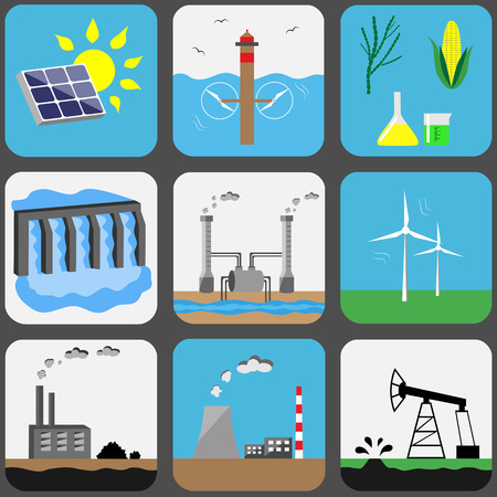 Energy sources icons set: solar, water, biofuel, hydroelectric, geothermal, wind, coal, nuclear or CHP, petroleum
