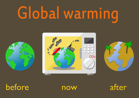 Global warming and climate change on Earth. Infographics illustration