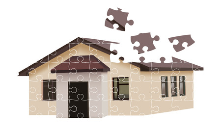 residental: Puzzle building house illustration over white background Stock Photo