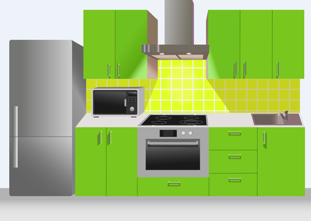 oven range: Modern green kitchen interior with refrigerator, microwave and stove. Illustration Stock Photo