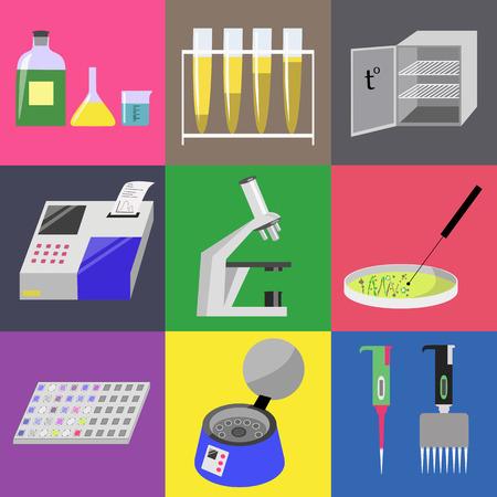 analyzer: Microbiology laboratory icons set: labware, thermostat, microscope, analyzer, centrifuge etc. illustration
