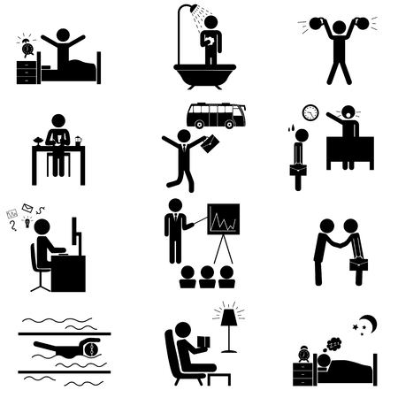 daily routine: Office daily routine life. Raster icons set isolated on white Stock Photo