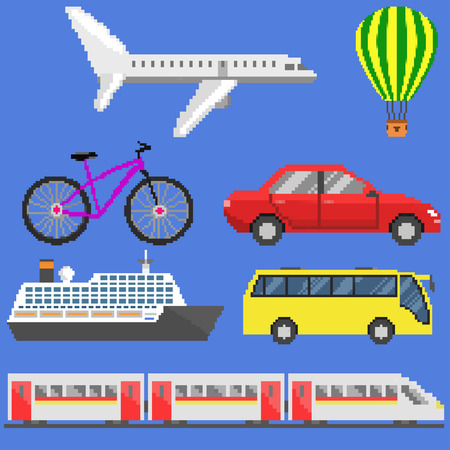 aerostat: Pixel art transport set: plane, aerostat, bicycle, car, ship, bus, train. Raster illustration