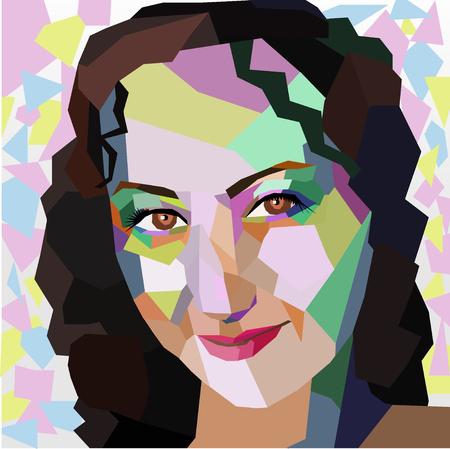 futuristic woman: Polygonal geometric portrait of girl. Illustration
