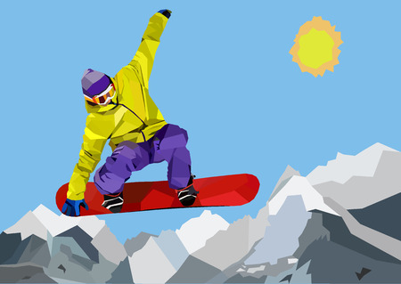 snowboarder jumping: Snowboarder jumping and making tricks in mountains. Colorful WPAP illustration
