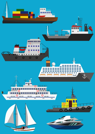 Set of industrial cargo and passenger ships and boats. Raster illustration