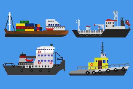 marine industry: Set of industrial cargo ships and boats. Pixel art illustration
