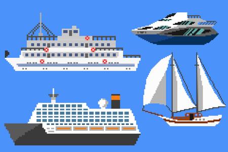 passenger ships: Set of passenger ships and boats. Pixel art illustration Stock Photo
