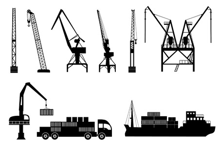 harbor: Silhouettes of loading lifting harbor cranes, truck and container ship.