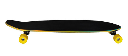 longboard: Side view of longboard (skateboard) isolated on white background