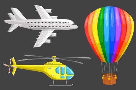 aerostat: Set of isolated air transport: plane, helicopter and aerostat. Color icons set. Airline service. Flying airplanes illustration