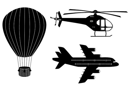 aerostat: Silhouettes  of air transport: plane, helicopter and aerostat. Black and white icons set. Airline service. Flying airplanes illustration