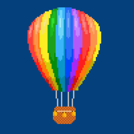 aerostat: Air balloon (aerostat). Color pixel art illustration. Airline service