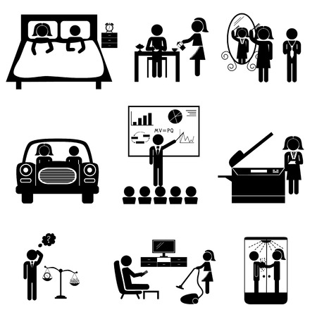 sleeping car: Office daily routine life of married couple (man and woman sticks). Icons set isolated on white