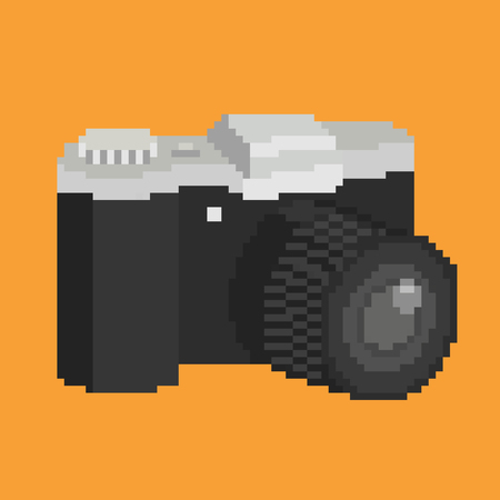 photocamera: Pixel art of photographic camera with lens. Isolated vector icon illustration Illustration