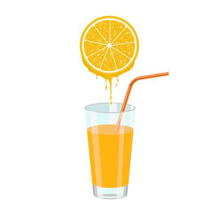 orange slice: Natural orange juice and orange slice squeezing in glass. Color flat illustration isolated on white background