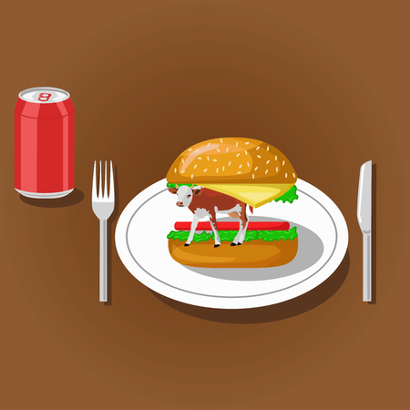 soda can: Hamburger with cow on plate and soda can. Color flat vector illustration