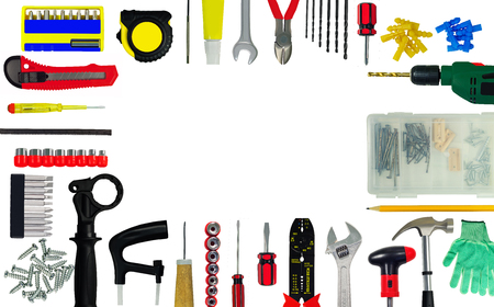 Frame from tools and construction implements isolated on white background. Copy-space
