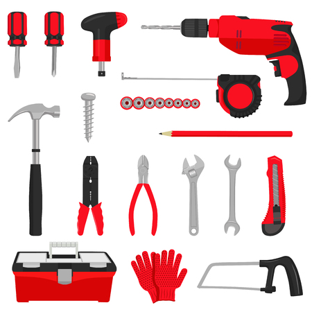 Construction repair tools icons set isolated on white background. Colored flat  illustration