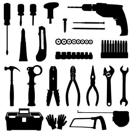 Silhouetten van de pictogrammen van de hulpmiddelen van de bouwreparatie geplaatst die op witte achtergrond worden geïsoleerd. Zwart en wit illustratie
