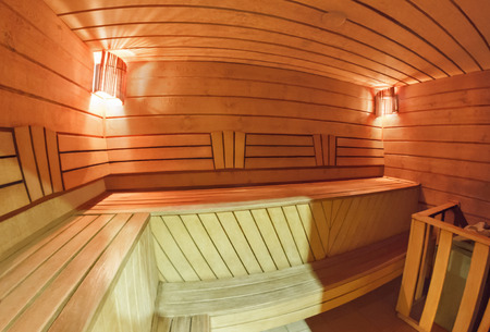 finnish bath: Wooden finnish sauna interior Stock Photo