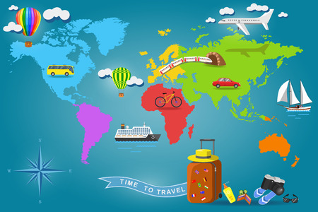 air travel: Travel around the world. Set of transport icons on Earth world map. Tourism and vacation. Color vector illustration