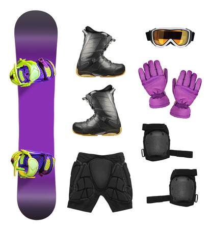 elbow pads: Set of snowboard equipment and protection accessories isolated on white background
