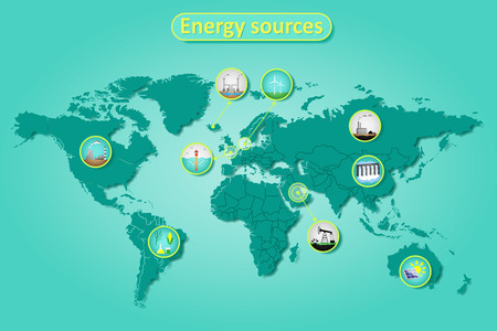 Electric power and energy sources in different countries on world map. Infographics vector illustration