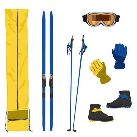 Set of ski equipment icons. Color flat vector illustration