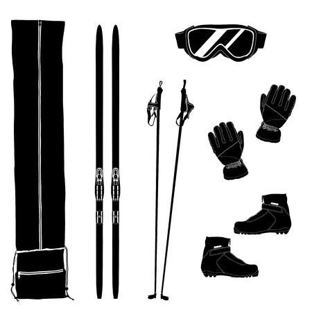 Silhouettes of ski equipment icons. Black and white vector illustration