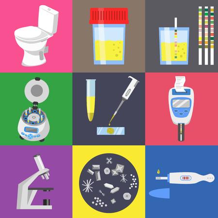 Urinetest analyse en medische laboratoriumapparatuur. Color vector icons set