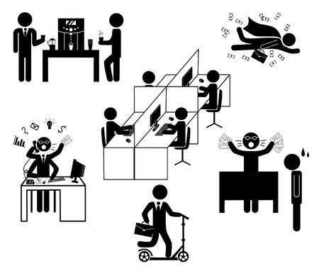 Set of sticks icons isolated on white background. Office daily routine life