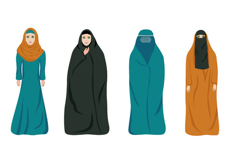 Set of muslim women in different clothes isolated on white. Color flat vector illustration