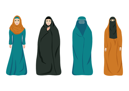 Set of muslim women in different clothes isolated on white. Color flat illustration