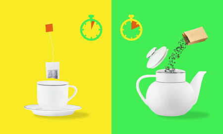 Comparison of brewing time between tea leaves and tea bag. Cup on saucer and teapot on yellow and green backgrounds